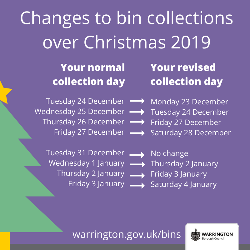 Changes to bin collections over Christmas