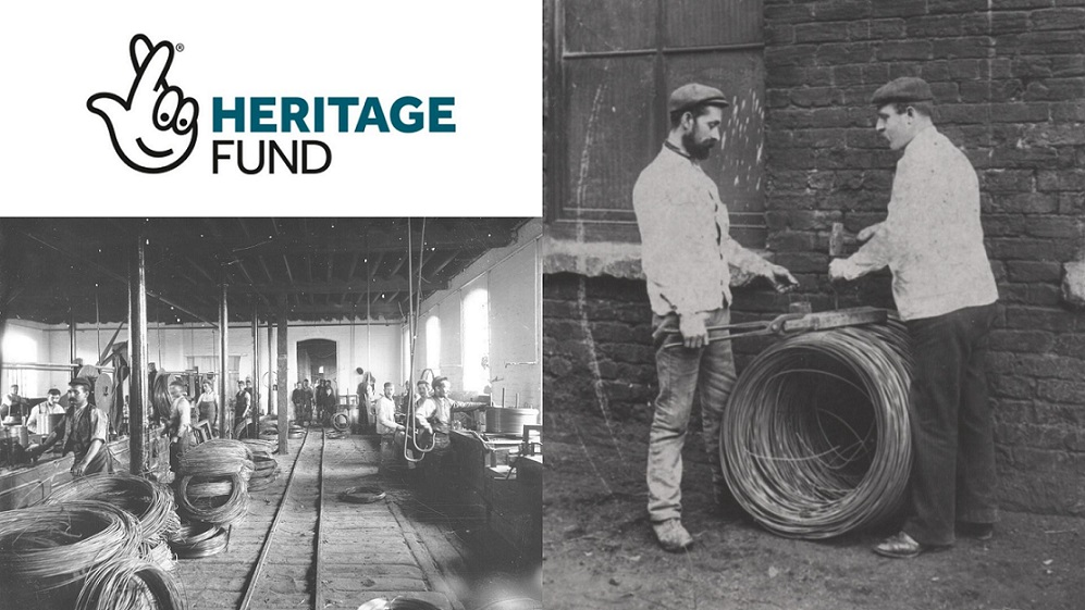 National Lottery heritage fund logo and 2 historical photographs of wire factory workers