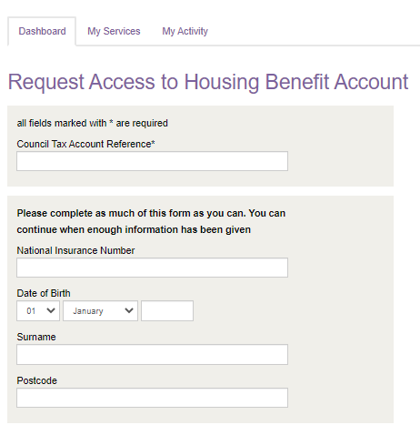 Add Housing Benefit Panel