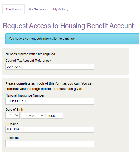 Access to Housing Benefit account - Enough information collected