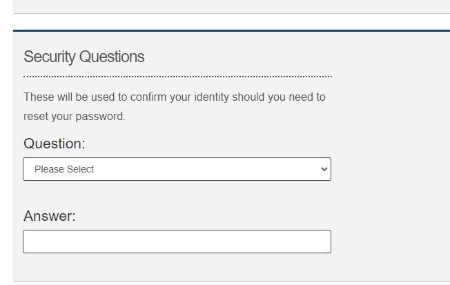 Citizen Portal Security Question