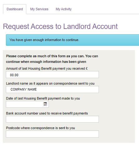 Request access to Landlord Account - Enough Information