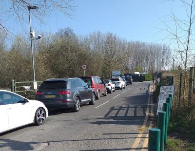 Car queues at one of Warrington's community recycling centres