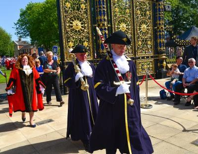 Procession through Golden Gates on Walking Day 2019