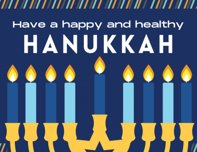 Image of menorah with text: Have a happy and healthy Hanukkah