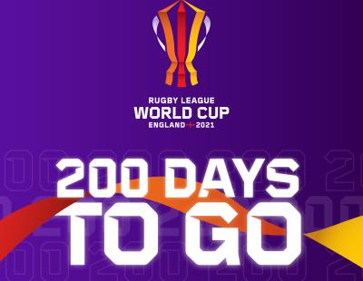 Square image: purple background with RLWC2021 logo. Text: 200 days to go